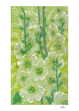 Hollyhock Mallows, Summer Flowers, Floral Art, Green version