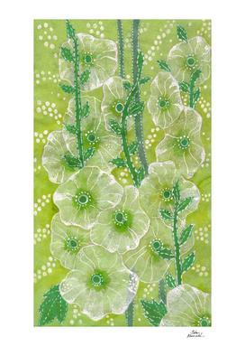 Hollyhock Mallows, Summer Flowers, Floral Art, Green version