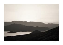 Mountains monochrome and a lake