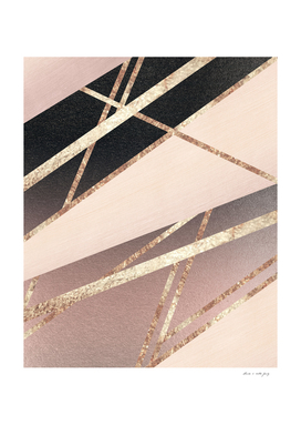 Rose Gold Blush Black Geometric Stripe Glam #1 #geo #decor
