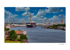 CMA CGM Freighter and Talmadge Memorial Bridge in Sav