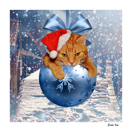 Christmas Cat and Snow
