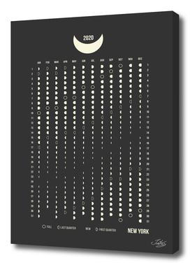 Moon Phases Calendar 2020, NY