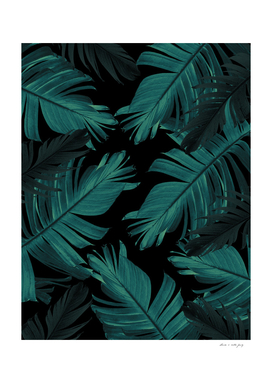 Tropical Banana Night Leaves Pattern #1 #tropical #decor