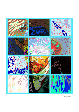 Van Gogh Self Portrait abstract, manipulated and tiled