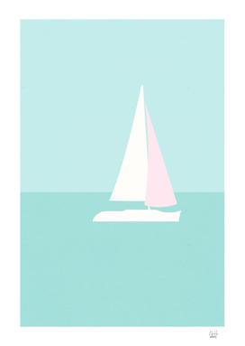Minimal Sailboat - Turquoise Coast