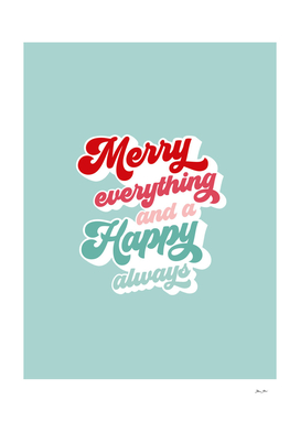 Merry Everything on Retro blue