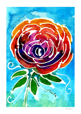 Abstract Watercolor Rose