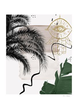 Banana Palms Hamsa Hand Abstract - Naturelle #1 #minimal