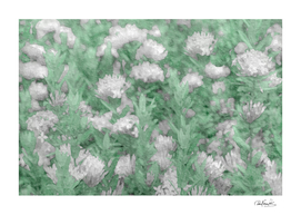 Green and White Textured Botanical Motif Manipulated