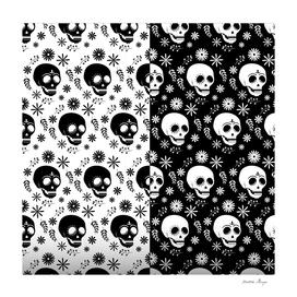 BLACK AND WHITE SKULL PATTERN