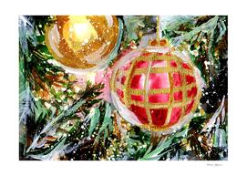Christmas Tree Ornaments Close Up