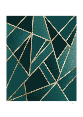 Classic Teal Champagne Gold Geo #1 #geometric #decor #art