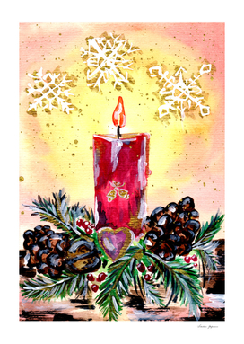 Christmas Candle and Snowflakes