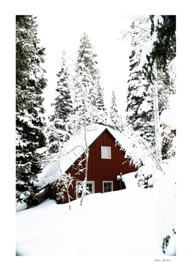Red Log Cabin Winter Scenery
