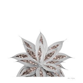 Gray Agave with Rose Gold Glitter #3 #shiny #tropical #decor