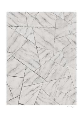 White Marble Silver Glitter Geometric Glam #2 (Faux Glitter)