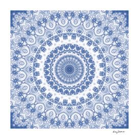 Blue and White Fractal Mandala
