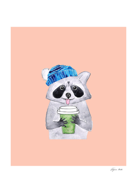 Racoon with a cup of coffee