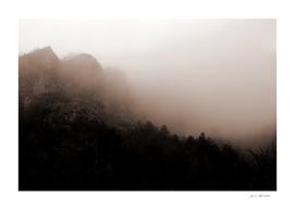 Minimal Landscape Foggy Rocks