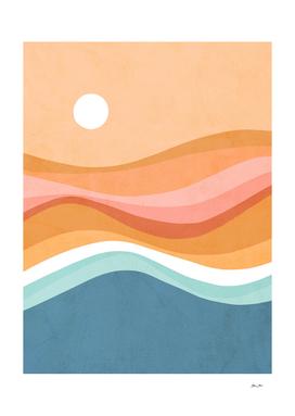 Abstract Rainbow Waves Seascape