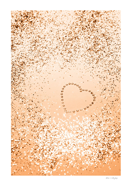 Sparkling ORANGE Lady Glitter Heart #1 (Faux Glitter) #decor