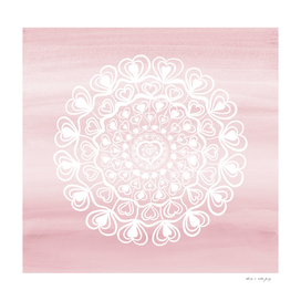Heart Mandala on Blush Pink Watercolor #1 #decor #art