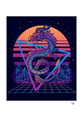 RetroWave Dragon Aesthetic Poster
