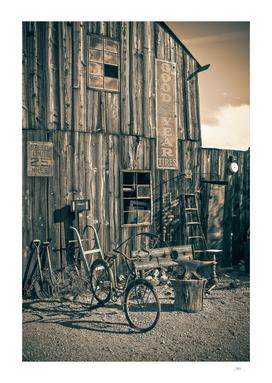 Sepia Barn with Bike