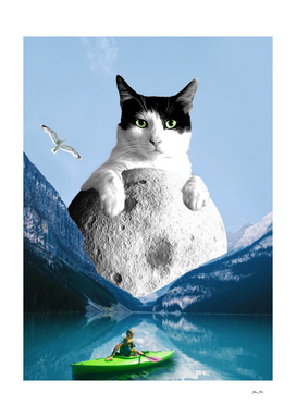 On the top of the Moon - Cat Collage Art