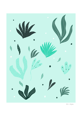 Underwater Leaves Jungle #1 #kids #decor #art