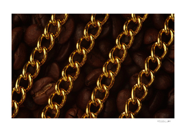 The golden chain on roasted coffee bean