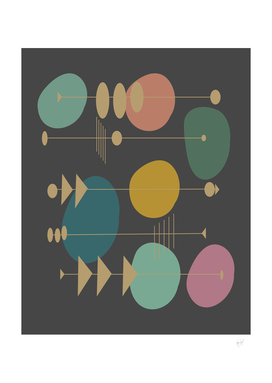 Colorful Atomic Space Age Motif