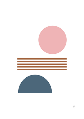 Shapes and Lines in Pink, Blue, and Rust