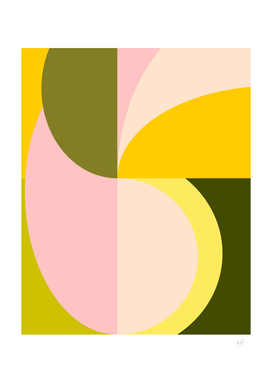 Mid Century Abstract Shapes in Vibrant Citrus Colors