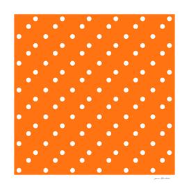 Cute white polka dots on orange
