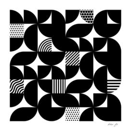 Black Mid Century Bauhaus Semi Circle Pattern