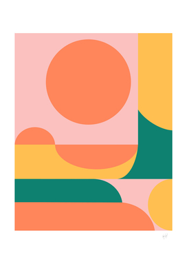 Shape and Color Study in Orange, Pink, Green, and Yellow