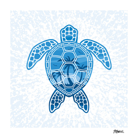 Tropical Island Sea Turtle Design in Blue