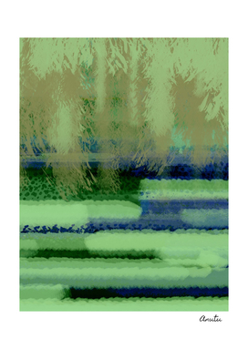 Sage Green Jungle Landscape Abstract