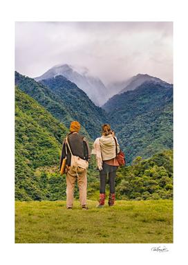 Young Backpackers at Top of Mountain, Banos, Ecuador