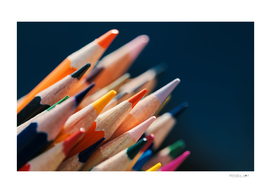 Close-up view of bunch of the colored pencil
