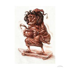 A Witch on Skateboard