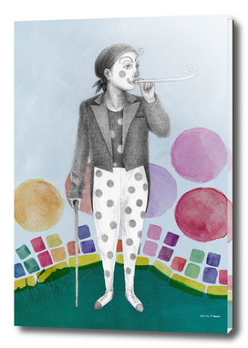 clown and lots of dots
