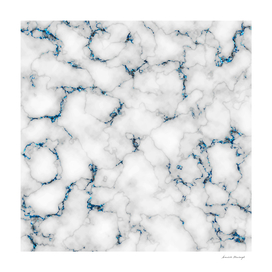 Marble with blue glitter in veins