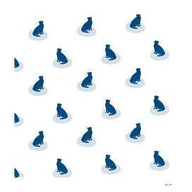 Minimal Sitting Cat Pattern - Blue and White