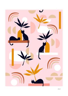 Minimal Cats and Nature Pattern 2 Pastel Pink