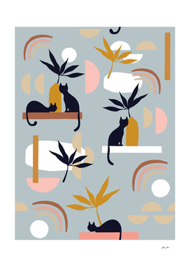 Minimal Cats and Nature Pattern  3 - Retro Blue