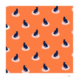 Minimal Sitting Cat Pattern 15 Retro Orange