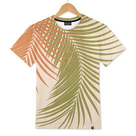 Palm Leaves Orange Green Vibes #1 #tropical #decor #art